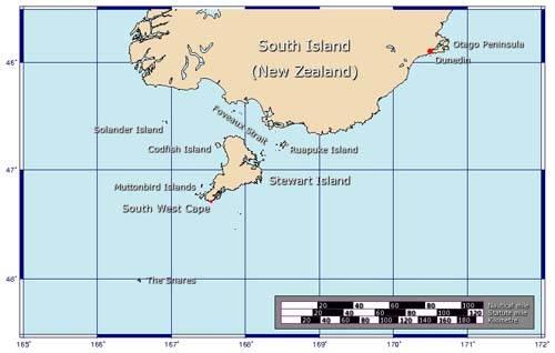 Mapa de la Isla Stewart